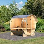 Karibu Fass – Sauna 1 42 mm inkl. 9-kW-Bioofen – Saunahaus