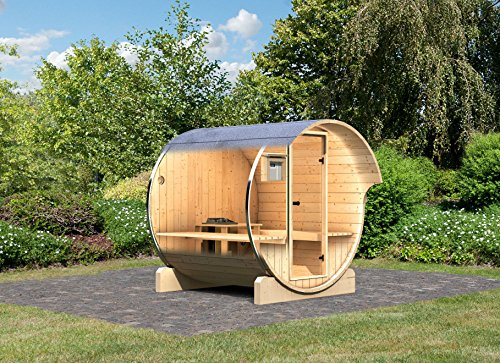 karibu fass sauna 1 42 mm inkl 9 kw bioofen saunahaus - Karibu Fass - Sauna 1 42 mm inkl. 9-kW-Bioofen - Saunahaus