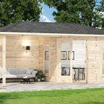 Alpholz 5-Eck Gartenhaus Liwa-28 aus Massiv-Holz   Gerätehaus mit 28 mm Wandstärke   Garten Holzhaus inklusive Montagematerial   Geräteschuppen Größe: 595 x 300 cm