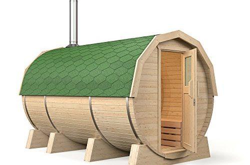 ISIDOR Fasssauna M3 Premium 3,60m, mit Vorraum und Holzofen HARVIA M3, Espe-Saunaholz bei allen Innensitzbänken (grüne Dachschindeln)